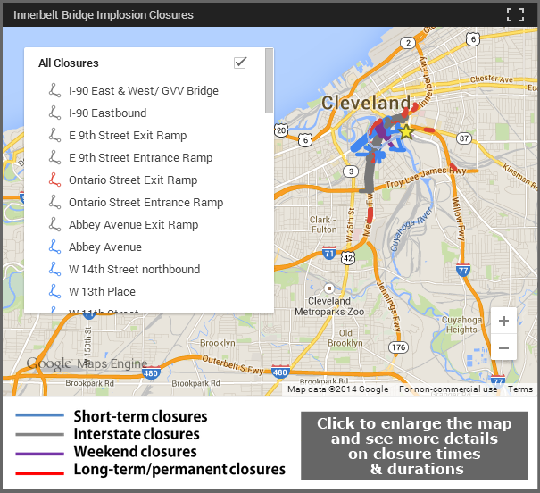 Innerbelt Closures Map